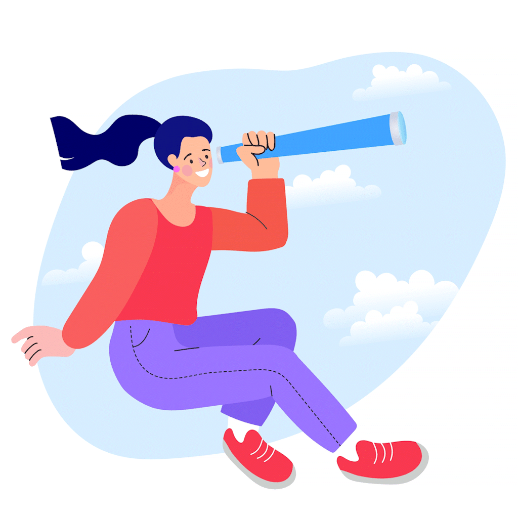 Cartoon style image of smiling woman with purple pony tail and red jumper looking through telescope